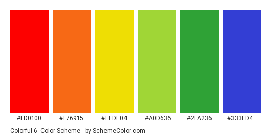 Colorful 6 - Color scheme palette thumbnail - #FD0100 #F76915 #EEDE04 #A0D636 #2fa236 #333ED4