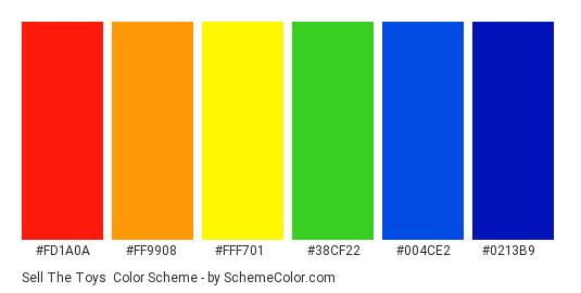 Sell the Toys - Color scheme palette thumbnail - #FD1A0A #FF9908 #FFF701 #38CF22 #004CE2 #0213B9