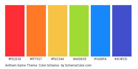 Anthem Game Theme - Color scheme palette thumbnail - #FD2E36 #FF7927 #F6C344 #A0DB35 #1688FA #414FCD