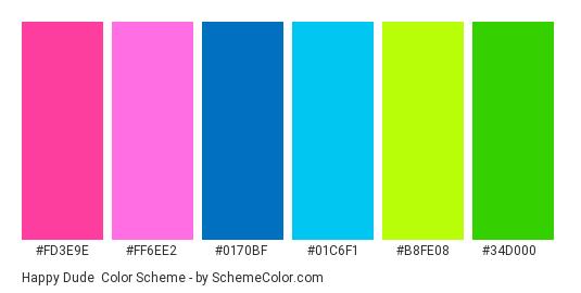 Happy Dude - Color scheme palette thumbnail - #FD3E9E #FF6EE2 #0170BF #01C6F1 #B8FE08 #34D000