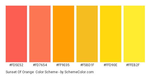 Sunset of Orange - Color scheme palette thumbnail - #FD5E52 #FD7654 #FF9E05 #F5BD1F #FFD90E #FFEB2F