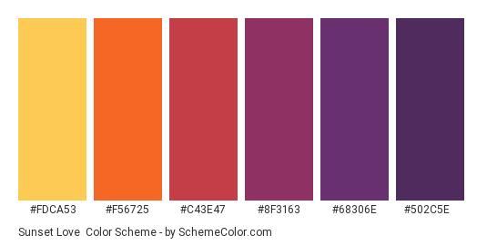 Sunset Love - Color scheme palette thumbnail - #FDCA53 #F56725 #C43E47 #8F3163 #68306E #502C5E