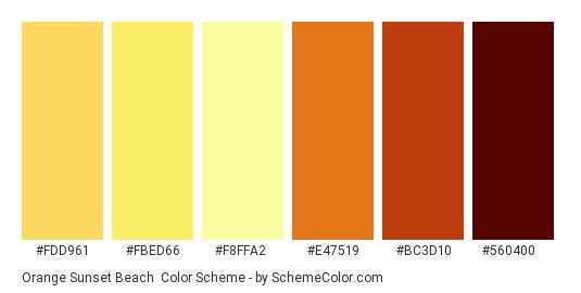 Orange Sunset Beach - Color scheme palette thumbnail - #FDD961 #FBED66 #F8FFA2 #E47519 #BC3D10 #560400