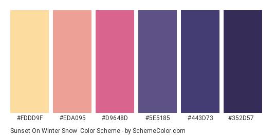 Sunset on Winter Snow - Color scheme palette thumbnail - #FDDD9F #EDA095 #D9648D #5E5185 #443D73 #352D57