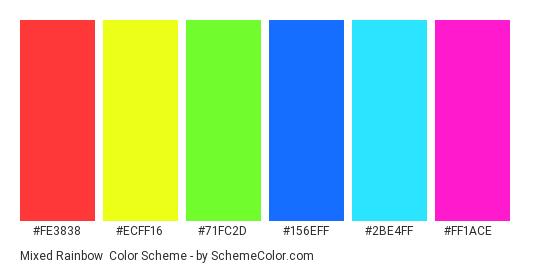 Mixed Rainbow - Color scheme palette thumbnail - #FE3838 #ECFF16 #71FC2D #156EFF #2BE4FF #FF1ACE