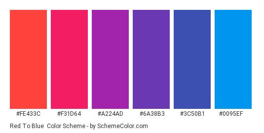 Red to Blue - Color scheme palette thumbnail - #FE433C #F31D64 #A224AD #6A38B3 #3C50B1 #0095EF