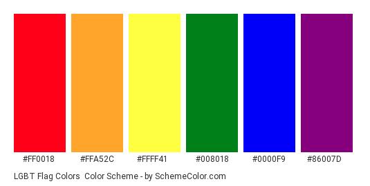LGBT Flag Colors - Color scheme palette thumbnail - #FF0018 #FFA52C #FFFF41 #008018 #0000F9 #86007D