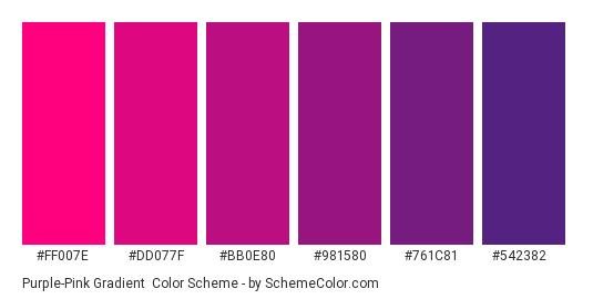 Purple-Pink Gradient - Color scheme palette thumbnail - #FF007E #DD077F #BB0E80 #981580 #761C81 #542382