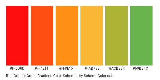 Red-Orange-Green Gradient - Color scheme palette thumbnail - #FF0D0D #FF4E11 #FF8E15 #FAB733 #ACB334 #69B34C