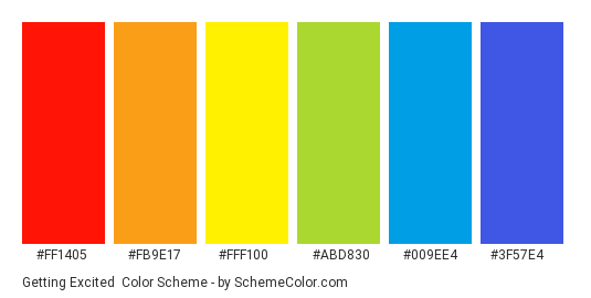 Getting Excited - Color scheme palette thumbnail - #FF1405 #FB9E17 #FFF100 #ABD830 #009EE4 #3F57E4
