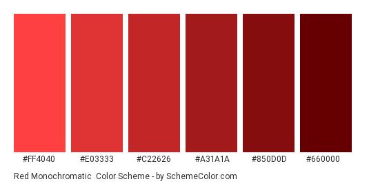 Red Monochromatic - Color scheme palette thumbnail - #FF4040 #E03333 #C22626 #A31A1A #850D0D #660000
