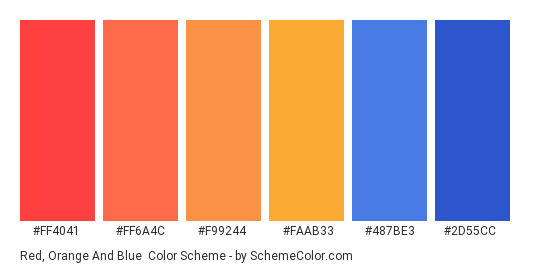 Red, Orange and Blue - Color scheme palette thumbnail - #FF4041 #FF6A4C #F99244 #FAAB33 #487be3 #2d55cc
