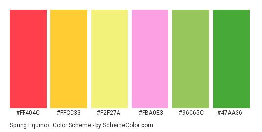 Spring Equinox - Color scheme palette thumbnail - #FF404C #FFCC33 #F2F27A #FBA0E3 #96C65C #47AA36