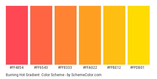 Burning Hot Gradient - Color scheme palette thumbnail - #FF4854 #FF6543 #FF8333 #FFA022 #FFBE12 #FFDB01