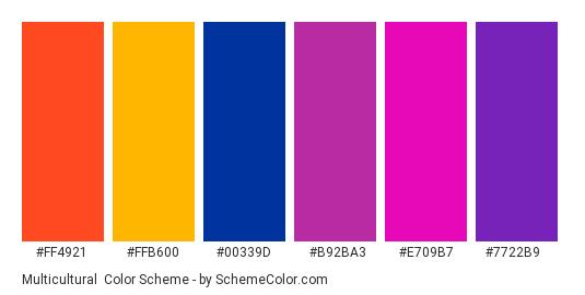 Multicultural - Color scheme palette thumbnail - #FF4921 #FFB600 #00339d #B92BA3 #E709B7 #7722B9
