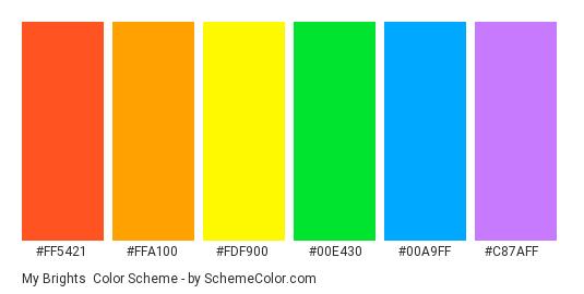 My brights - Color scheme palette thumbnail - #FF5421 #FFA100 #FDF900 #00E430 #00A9FF #C87AFF