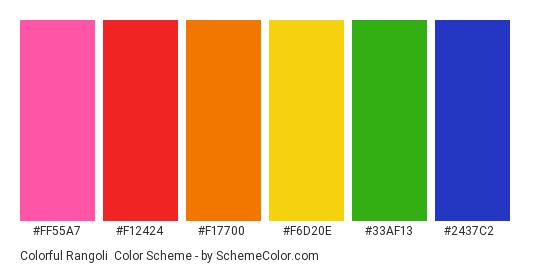 Colorful Rangoli - Color scheme palette thumbnail - #FF55A7 #F12424 #F17700 #F6D20E #33AF13 #2437C2