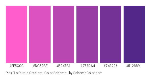 Pink to Purple Gradient - Color scheme palette thumbnail - #FF5CCC #DC52BF #B947B1 #973DA4 #743296 #512889