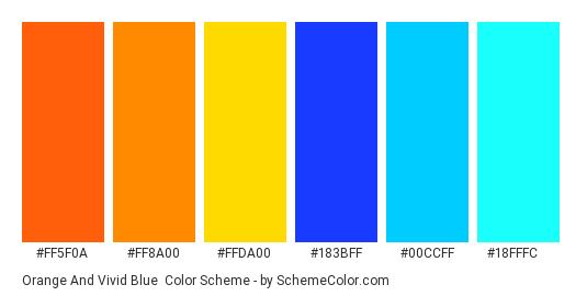 Orange and Vivid Blue - Color scheme palette thumbnail - #FF5F0A #FF8A00 #FFDA00 #183BFF #00CCFF #18FFFC