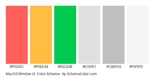 macOS window UI - Color scheme palette thumbnail - #FF605C #FFBD44 #00CA4E #E1DFE1 #C0BFC0 #F5F5F5