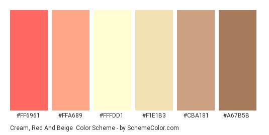 Cream, Red and Beige - Color scheme palette thumbnail - #FF6961 #FFA689 #FFFDD1 #F1E1B3 #CBA181 #A67B5B