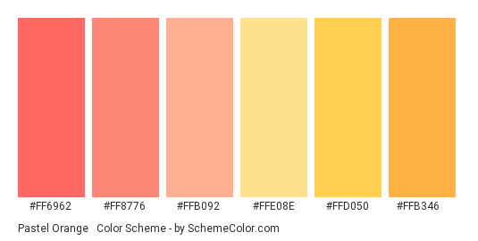 Pastel Orange & Red - Color scheme palette thumbnail - #FF6962 #FF8776 #FFB092 #FFE08E #FFD050 #FFB346