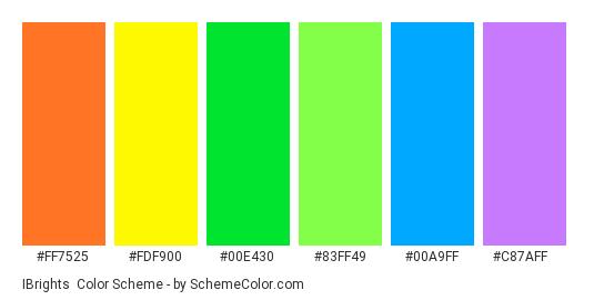 iBrights - Color scheme palette thumbnail - #FF7525 #FDF900 #00E430 #83FF49 #00A9FF #C87AFF