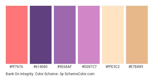 Bank on Integrity - Color scheme palette thumbnail - #FF7676 #614080 #9E68AF #D087C7 #FFE3C2 #E7B889