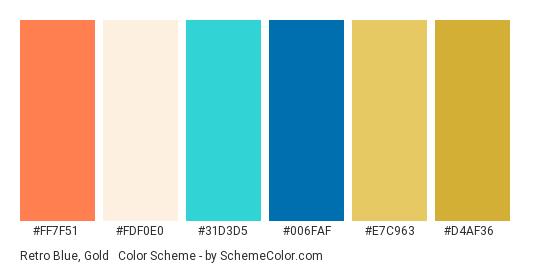 Retro Blue, Gold & Coral - Color scheme palette thumbnail - #FF7F51 #FDF0E0 #31D3D5 #006faf #E7C963 #D4AF36