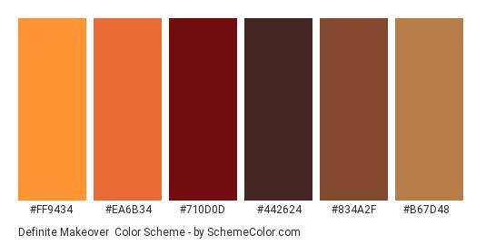 Definite Makeover - Color scheme palette thumbnail - #FF9434 #EA6B34 #710D0D #442624 #834A2F #B67D48