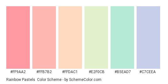 Rainbow Pastels - Color scheme palette thumbnail - #FF9AA2 #FFB7B2 #FFDAC1 #E2F0CB #B5EAD7 #C7CEEA