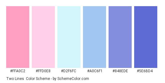 Two Lines - Color scheme palette thumbnail - #FFA0C2 #FFD0E8 #D2F6FC #A0C6F1 #848EDE #5E6BD4