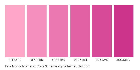 Pink Monochromatic - Color scheme palette thumbnail - #FFA6C9 #F58FBD #EB78B0 #E061A4 #D64A97 #CC338B