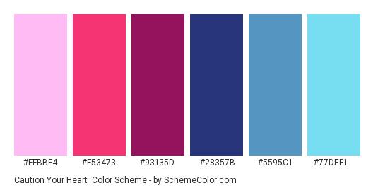 Caution Your Heart - Color scheme palette thumbnail - #FFBBF4 #F53473 #93135D #28357B #5595C1 #77DEF1
