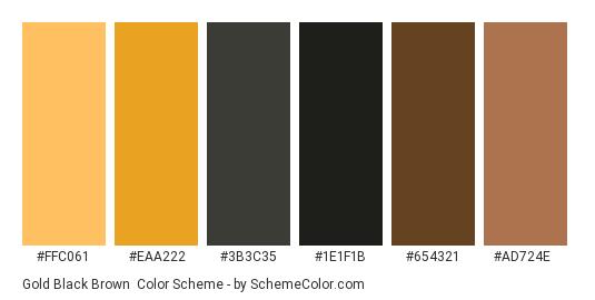 Gold Black Brown - Color scheme palette thumbnail - #FFC061 #EAA222 #3B3C35 #1E1F1B #654321 #AD724E