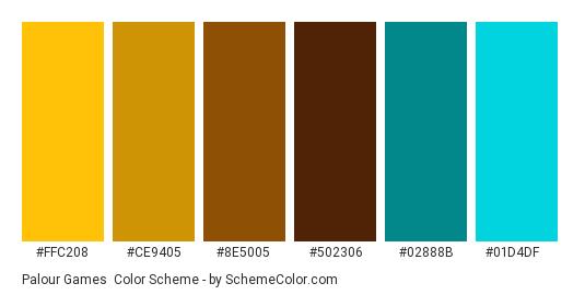 Palour Games - Color scheme palette thumbnail - #FFC208 #CE9405 #8E5005 #502306 #02888B #01D4DF