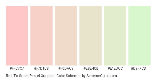 Red to Green Pastel Gradient - Color scheme palette thumbnail - #FFC7C7 #F7D1C8 #F0DAC9 #E8E4CB #E1EDCC #D9F7CD
