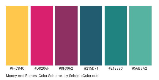 Money and Riches - Color scheme palette thumbnail - #FFC84C #D8206F #8F3062 #215D71 #218380 #56B3A2