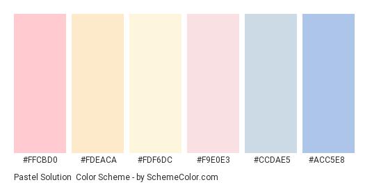 Pastel Solution - Color scheme palette thumbnail - #FFCBD0 #FDEACA #FDF6DC #F9E0E3 #CCDAE5 #ACC5E8