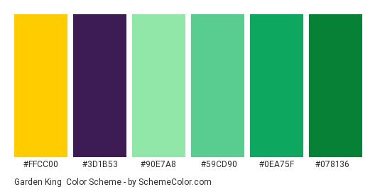 Garden King - Color scheme palette thumbnail - #FFCC00 #3d1b53 #90E7A8 #59CD90 #0EA75F #078136