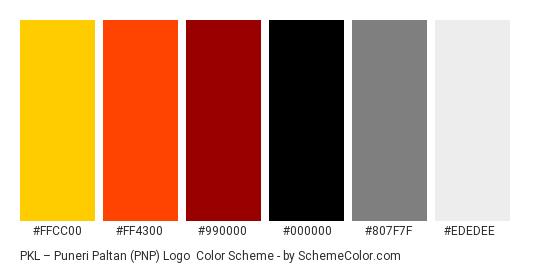 PKL – Puneri Paltan (PNP) Logo - Color scheme palette thumbnail - #FFCC00 #FF4300 #990000 #000000 #807F7F #EDEDEE