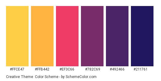 Creative Theme - Color scheme palette thumbnail - #FFCE47 #FFB442 #EF3C66 #782C69 #492466 #211761