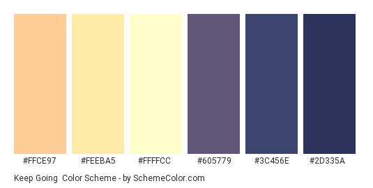 Keep Going - Color scheme palette thumbnail - #FFCE97 #FEEBA5 #FFFFCC #605779 #3C456E #2D335A