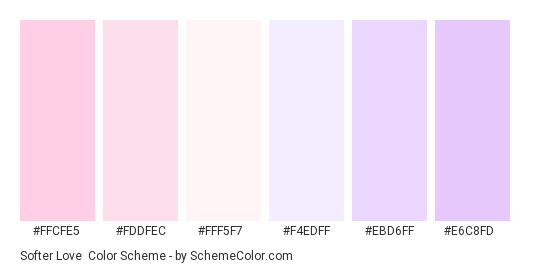 Softer Love - Color scheme palette thumbnail - #FFCFE5 #FDDFEC #FFF5F7 #F4EDFF #EBD6FF #E6C8FD