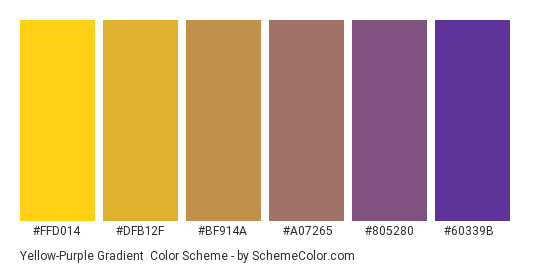 Yellow-Purple Gradient - Color scheme palette thumbnail - #FFD014 #DFB12F #BF914A #A07265 #805280 #60339B