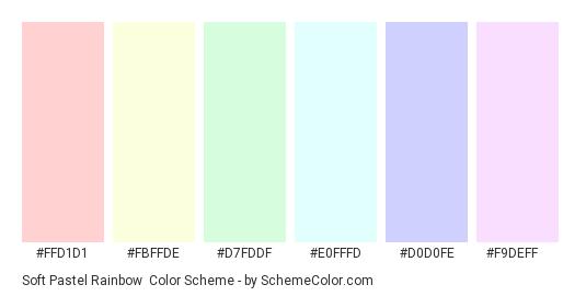 Soft Pastel Rainbow - Color scheme palette thumbnail - #FFD1D1 #FBFFDE #D7FDDF #E0FFFD #D0D0FE #F9DEFF