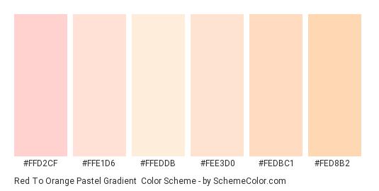 Red to Orange Pastel Gradient - Color scheme palette thumbnail - #FFD2CF #FFE1D6 #FFEDDB #FEE3D0 #FEDBC1 #FED8B2