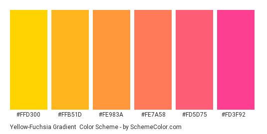 Yellow-Fuchsia Gradient - Color scheme palette thumbnail - #FFD300 #FFB51D #FE983A #FE7A58 #FD5D75 #FD3F92