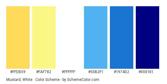 Mustard, White & Navy - Color scheme palette thumbnail - #FFDB59 #FAF782 #FFFFFF #50B2F1 #1974D2 #000181