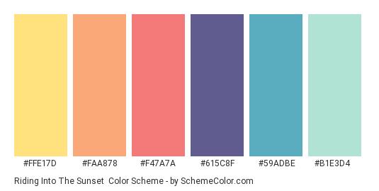 Riding into the Sunset - Color scheme palette thumbnail - #FFE17D #FAA878 #F47A7A #615C8F #59ADBE #B1E3D4